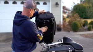 Rickrack strapless motorcycle luggage system